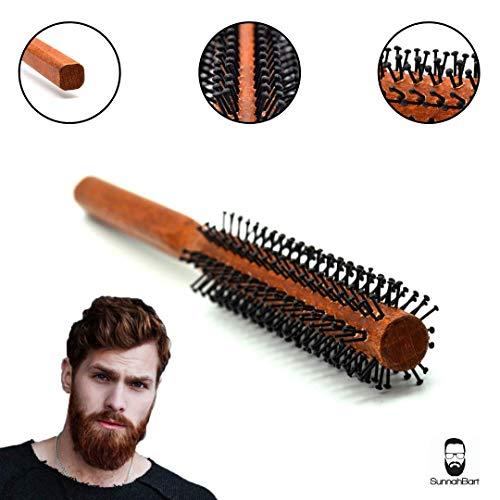 Sunnah Bart Männer Rundbürste - 25 mm Ø für den kurzen Bart und kurze Haare | Bartbürste für den Mann | Föhnbürste mit speziellen Noppen | rund Haarbürste aus Holz