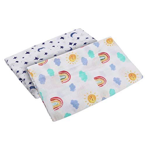 Wickeldecke Badetuch - 120 x 120 cm Platz Wickeln Decke Weich Baumwolle Kindergarten Wickeln Handtuch Musselin Decken für Baby Dusche Geschenke (Regenbogen + Stern) ()