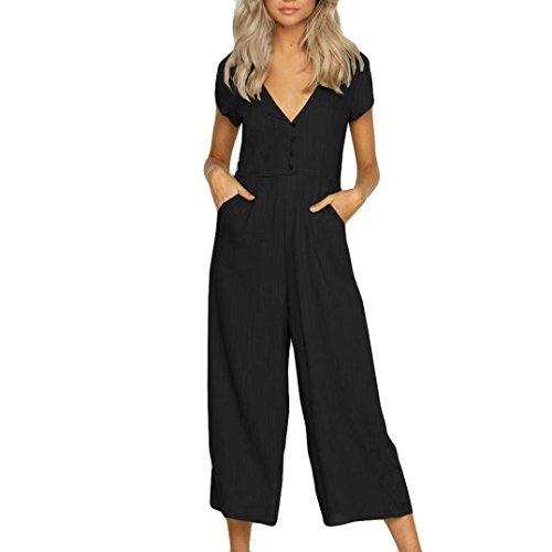 HCFKJ Kleid Damen Sommer Elegant 2018 Womens V Neck Jumpsuit Sommer Kurzarm Breites Bein Hose Clubwear Playsuit (XL, Black) (Indische Suit Styles)