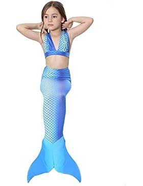 3 Piezas Niña Sirena Disfraz Pequeño Sirena Cola Traje De Baño Chicas Nadar Bikini Conjunto Nadando Niños Swimwear...