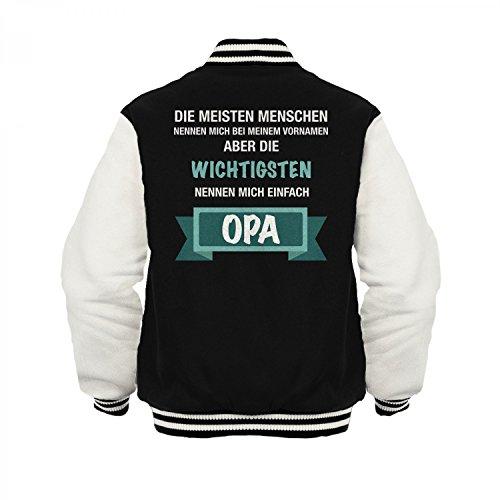 Fashionalarm Herren College Jacke - Die wichtigsten Menschen nennen mich Opa | Varsity Baseball Jacket | Sweatjacke als Geburtstag Geschenk Idee Schwarz / Weiß