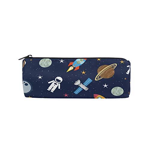 Bonipe Federmäppchen, Weltraummotiv mit Sternen, Planeten und Raketen, Stiftemäppchen / Täschchen, für die Schule, Stiftebox mit Reißverschluss, auch als Make-up-Tasche für Kosmetika (Halloween Taschen Für Die Schule)