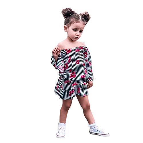 Modaworld Baby-Kleid, Mädchen, für Kleinkinder, Mädchen, schulterfrei, Blumenmotiv, lässig, für Kleinkinder 110 Schwarz