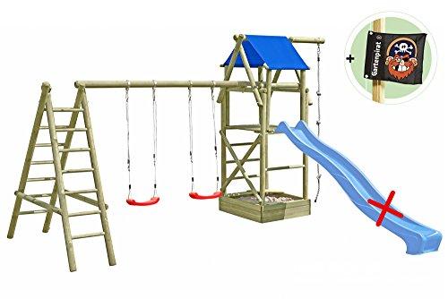 Spielturm Classic XL mit 2x Schaukel, Leiter, Sandkasten und Seil von Gartenpirat®