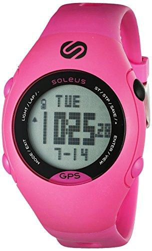 Soleus GPS - Mini reloj de corredor con monitor de actividad física y de salud, rosa/negro