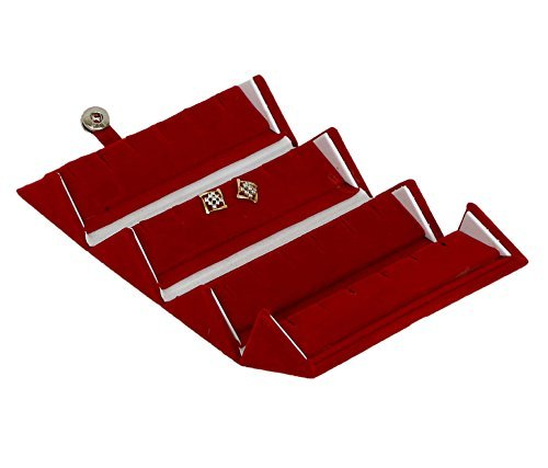 Meenaz Jewellery Velvet Red Earrings Jewellery Box/Organiser for Women- Ear Box-01