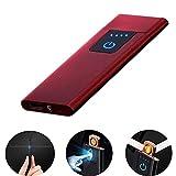 LayOPO Briquet Rechargeable USB 0,15'Ultrafine Portable Briquet Électrique Coupe-Vent Briquet Plasma sans Flamme pour Cigare, Cigarette, Bougie, Rouge Lumineux