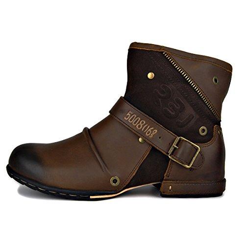 OTTO ZONE Herren Worker Boots | Schnürstiefeletten Leder Optik | Blockabsatz Profilsohle | Schnürer Schuhe Schnallen | Schnürboots |OZ-5008-6