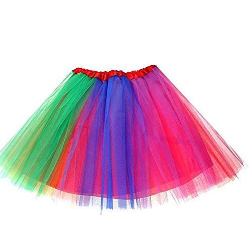 Ruiuzi Damen Tütü Rock Minirock 4 Lagen Petticoat Tanzkleid Dehnbaren Mini Skater Tutu Rock Erwachsene Ballettrock Tüllrock für Party Halloween Kostüme Tanzen (6 Farben)