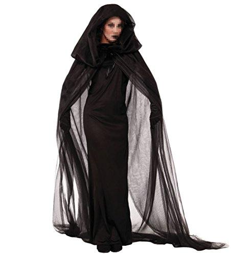 Uleade Halloween Sexy Hexe Kleid Bühnen Kostüm für Frauen Schwarz Teufel Kleid Nacht Geister