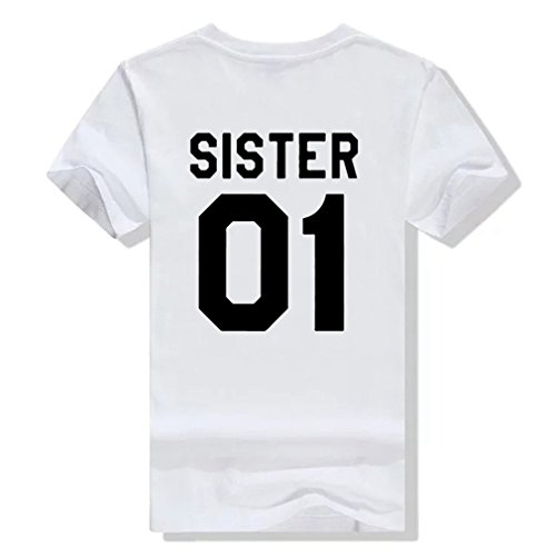 Pärchen Tshirt set Für zwei mit Aufdruck BROTHER SISTER Paar Lustige Passende Kurzarm von ZIWATER (S, Weiß-Damen) (T-shirts Lustige Freundin)
