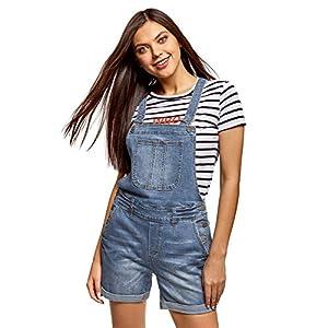 oodji Ultra Damen Kurze Jeans-Latzhose mit Zierknöpfen