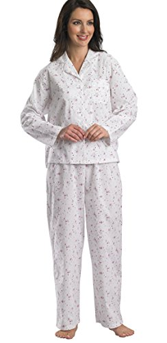 Slenderella Damen Langarm-Polycotton, 2-teiliges Pyjama Schlafanzug, Blau oder Pink, Gr. 36-48 Gr. X-Large, Rosa - Pink (Hose Pyjama Baumwolle Gebürstete)