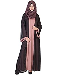 8946c1eb10ef HAYA Women s Kimono Black Double Layer Premium Interlock Lycra Abaya in  Black Coral Color (HAYA