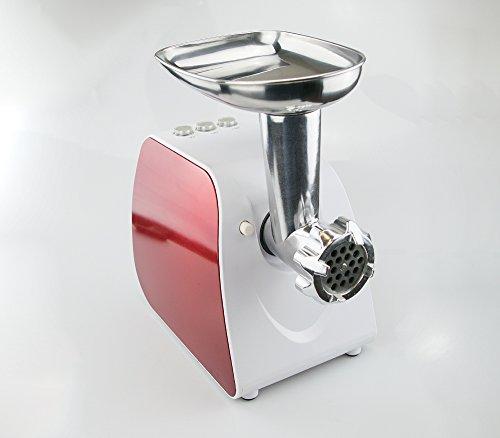 Fleischwolf, roter Farbe, Leistung 350 W, Stahlschneideklinge, Set zur Zugereitung von Würstchen, Einsatz zur Zubereitung von Kebbe, Funktion vorwärts/zurück