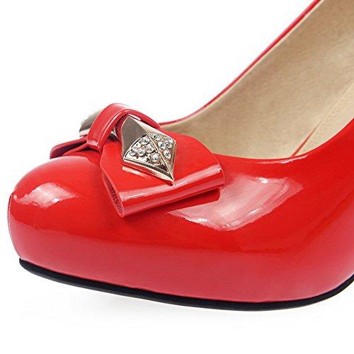 VogueZone009 Femme Rond à Talon Haut Verni Couleur Unie Tire Chaussures Légeres Rouge