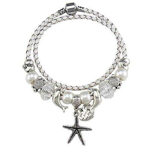 youjiu Dekorationen Vintage Dekoration Windlicht Gartendekoocean Series White Crystal Perlen Armband Starfish Dolphin Anhänger Hand Schmuck