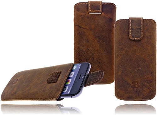 Burkley Premium Wetcase Leder Handy-Tasche für Apple iPhone 7 in 4,7 Zoll Sleeve Etui Schutz-Hülle mit Easy-Out System und Klettverschluss in rost braun