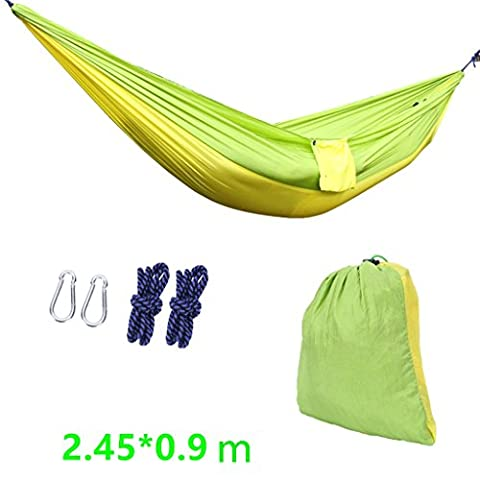 wysm Hamac couvert de parachute légère 245 * 90cm Single Outdoor Camping Hostel Swing Indoor Hanger ( Couleur : Vert )