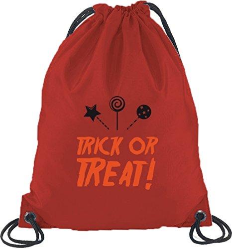 Halloween Grusel Kostüm Turnbeutel Rucksack Sport Beutel mit Halloween - Trick Or Treat Motiv Rot