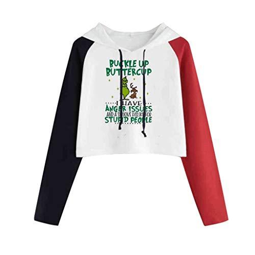 Xmiral Sweatshirts Damen Beschnittene Kapuzenpullover Spleiß Buchstabe Drucken Shirt Tops kurz Pullover mit Kapuzen Weihnachten Jumper(a Rot,XXL)
