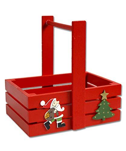 Vetrineinrete® Cestino Natalizio in Legno con Manico per Caramelle dolcetti cioccolatini con Babbo Natale Decorazioni Natalizie 790034
