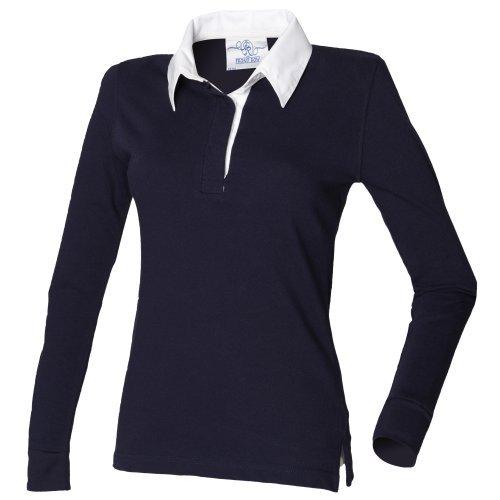 Front Row Damen Rugby Polo Shirt Langarm (Xlarge) (Marineblau/Weiß) (Langarm-knopf-front-shirt)