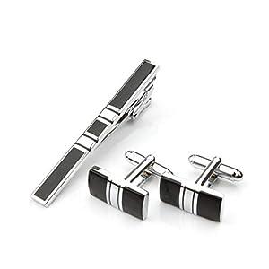 EVBEA krawattennadel Manschettenknöpfe Geschenkset Rostfreier Stahl Silber Schwarz KrawattenklammerFür Krawatte im Geschenk-Box Geeignet Herren Papa Vater
