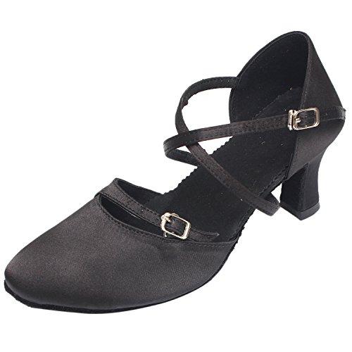 Saltos Altos Das Mulheres Azbro Suaves Únicos Sapatos Valsa Dança Preta