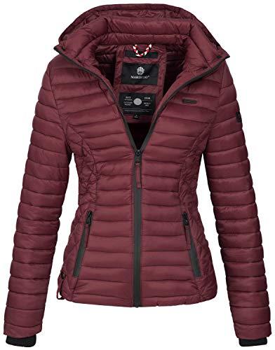 Marikoo Damen Jacke Steppjacke Übergangsjacke mit Kapuze gesteppt B600 [B600-Samt-Bordeaux-Gr.S]