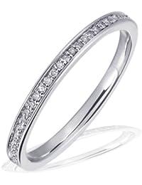 Goldmaid Damen-Ring Memoire 585 Weißgold 60 Brillanten 0,23 ct. Diamantring