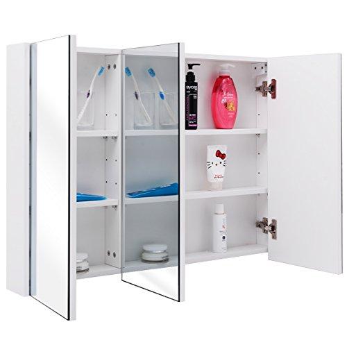#Spiegelschrank Badezimmer Badezimmerspiegelschrank Wandschrank Hängeschrank Front Spiegel Badmöbel 90x65x11cm, 3 türig#