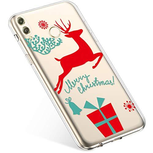 Uposao Handyhülle Huawei Honor 8X Hülle Transparent Silikon Ultra Dünn Schutzhülle Durchsichtig Handyhülle Kristall Weiche Silikon TPU Handytasche Rückschale,Weihnachten Geschenk
