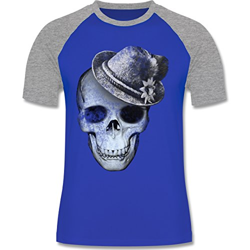 Shirtracer Oktoberfest Herren - Totenkopf mit Filzhut - Herren Baseball Shirt Royalblau/Grau meliert