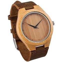 mercimall® Moderner Herren Armbanduhr aus Holz mit Lederband, natürliches Bambus Holz Armbanduhr Geschenk für Groomsmen