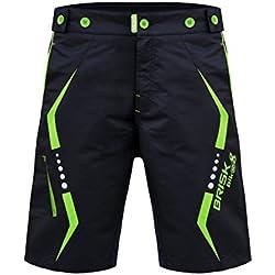 Brisk Bike MTB Cycling Shorts Pantalones cortos, Hombre, Multicolor (Black/Green), S