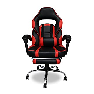 HG Silla Giratoria De Oficina Gaming Chair Apoyabrazos Acolchados Premium Comfort Silla Racing Capacidad De Carga 200 Kg Altura Ajustable Negro/Rojo