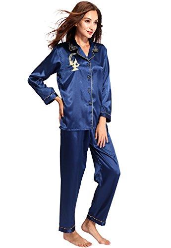 Vislivin Il suo drago cinese e il suo drago cinese e la gru cinese stampano il pigiama di raso Blue 1