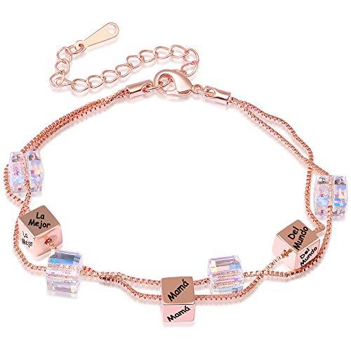 039b32d06ea0 ENGSWA Pulsera Mujer Grabado con Cristales de Swarovski Cubo Incrustados  por LEKANI Regalo Madre Mamá
