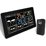 GJH LCD Farbe Drahtlos Wecker W-LAN Clever Farbbildschirm Temperatur Wetterstation Uhr,Black
