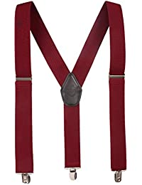 Peluche Solid Coloured 3cm Strap Width Elastic Suspenders for Men | Genuine Branded Product