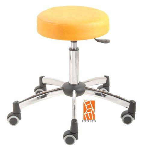 Arbeitshocker, Arzthocker, Drehhocker, Rollhocker Modell steel Hubbereich ca. 44 -58 cm, Rollen mit weicher Radbandage, Sitzfarbe mais