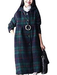 24a4adf711de Youlee Femmes Hiver Automne Plaid Manteaux à simple boutonnage Manteau en  laine avec capuche