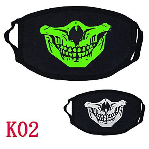 Qiusa Halloween 26 Stile Schwarz Party Leuchtenden Ghost Skull Half Face Scary Horror Maske (Farbe : B)