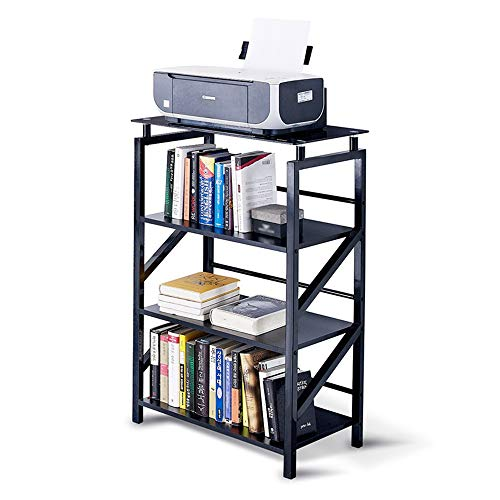 IVNGRI Bücherregale 4 Tiers Bücherregal Cube Bücherregal Display Rack Holz Metall Bücherregal (Color : Black) (Kleines Cube Hängend Tier)