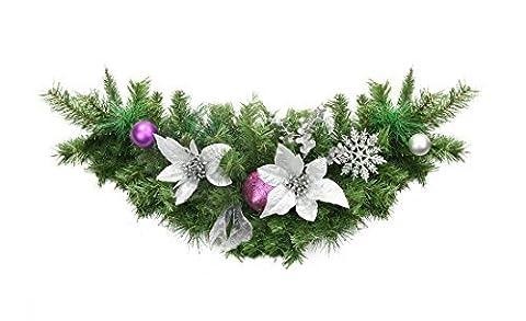 30 Pre-Decorated Silver Poinsettia, Eucalyptus and Purple Ornament Artificial Christmas
