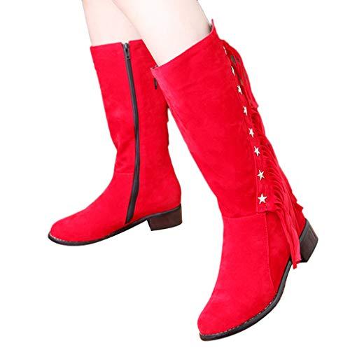 TianWlio Frauen Herbst Winter Stiefel Schuhe Stiefeletten Boots Retro Schuhe Stiefel Reißverschluss High Heel Schuhe Schnür Stiletto Stiefeletten rot 43