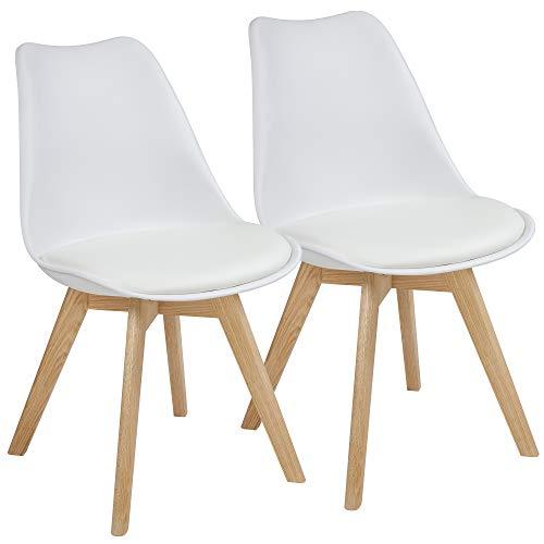 Albatros Esszimmerstühle AARHUS 2-er Set, Weiss mit Beinen aus Massiv-Holz, Eiche, skandinavisches Retro-Design