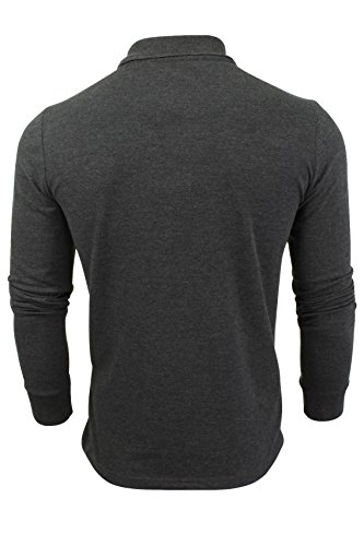 "Brave Soul - Herren Polo T-Shirt ""Lincoln"" Pique Lange Ärmel Dunkles Charcoal"