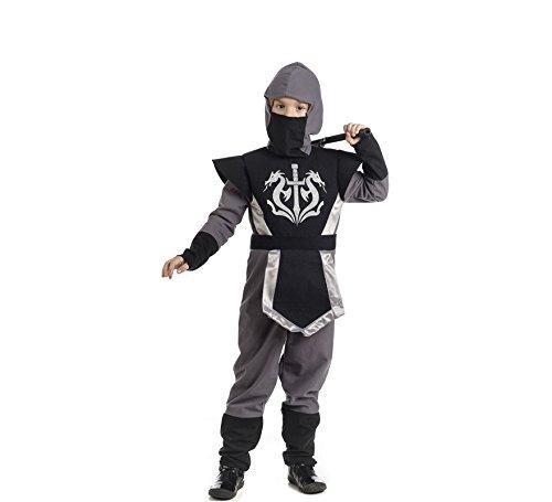 2Stück Overall mit Kapuze perfekt für Karneval und Mardi Gras schwarz grau 9 - 11 Jahre  mehrfarbig (Authentische Ninja Kostüme)